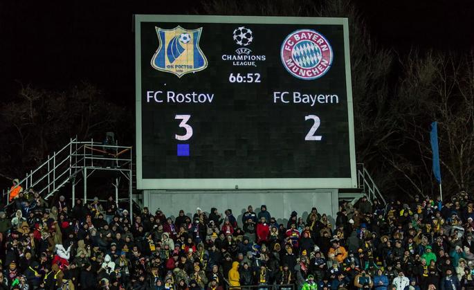 Табло стадиона «Олимп-2» фиксирует исторический успех «Ростова»